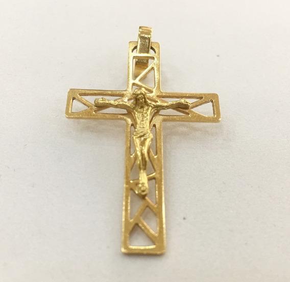 Pingente Crucifixo Ouro 18k Em 12x Sem Juros - Frete Grátis