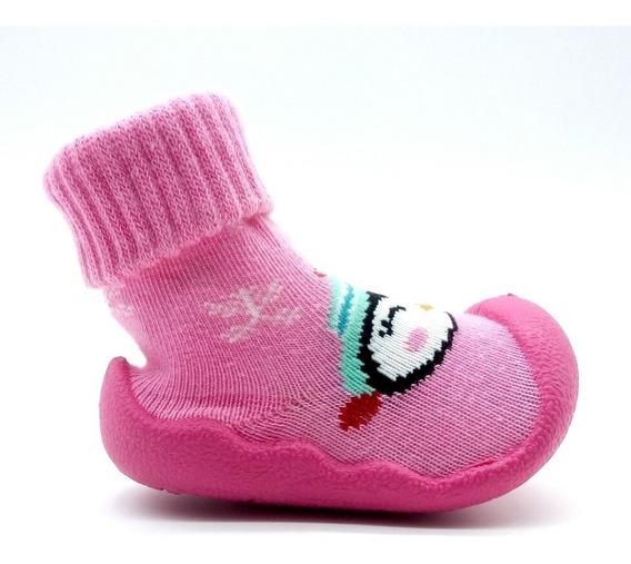 Meia Bebê Menina Com Sola Borracha Antiderrapante Kimimo