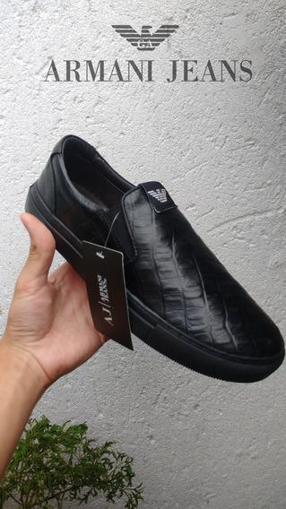 Tênis Sapatênis Sliper On Armani Jeans Couro Croco Masculino