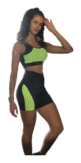 Conjunto Feminino Shorts E Top Academia Suplex E Dry Fit