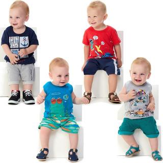 Roupa Bebê Menino Kit 4 Conjuntos Camiseta E Bermuda Verão