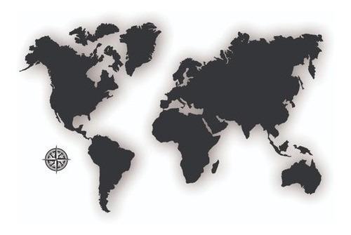 Imagem 1 de 7 de Quadro Decorativo Mapa Múndi Mdf Preto + Cartela Adesiva