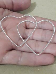 Brinco Argola Coração Feminino Em Prata Pura 4 Cm + Brinde