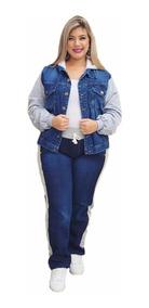 Jaqueta Blusa E Calça Plus Size Conjunto Moletom Com Jeans