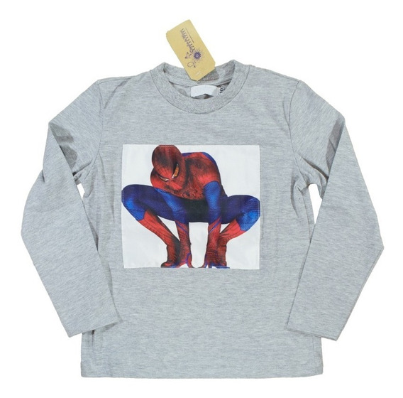Remera Nene Invierno Superhéroes Con Luces Hulk Spiderman