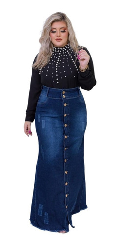 Saia Jeans Destroyed Longa Justa Moda Evangélica Feminina