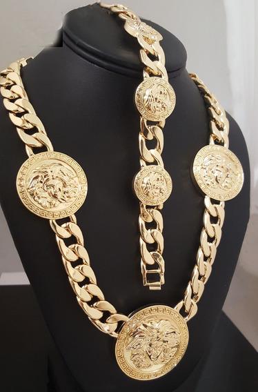 Brasalete Y Cadena De Medusa Griega Laminado Oro De 14k