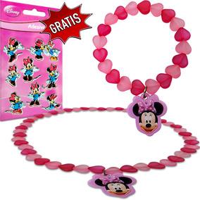 Kit Colar E Pulseira Infantil Minnie Disney Grátis Adesivo