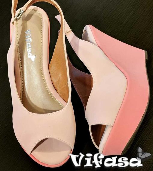 Sandália Plataforma Rosa Em 2 Tons
