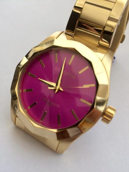 Relógio Feminino Atlantis G3434 Dourado Fundo Rosa