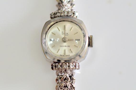 Relógio Feminino Ouro Branco 18k Ticin Com Brilhantes 0190