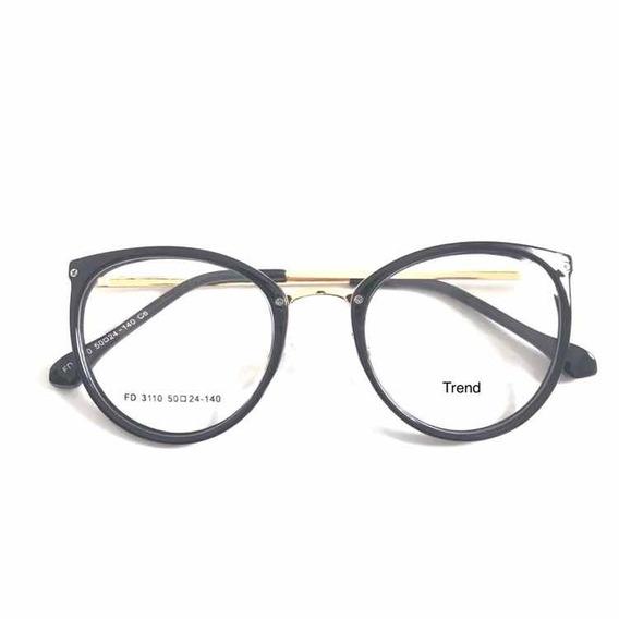 Armação Óculos P/grau Femenino Retro Metal Chic Nova +case