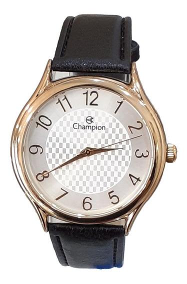 Relógio Champion Feminino Ch22706m Dourado Puls Couro Preta