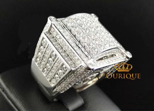 Anel Masculino Ouro  18k Com Diamantes Ice Original