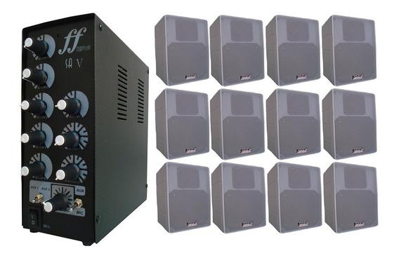 Kit 12 Caixa Branca Som Ambiente + Amplificador Setorizador
