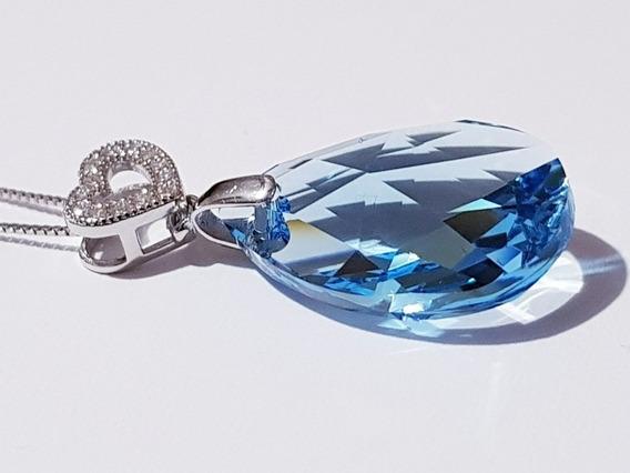Swarovski Crystal Dije Azul Corazón Ak Jewelry Oro