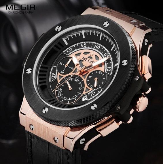 Relógio Masculino Megir Cronógrafo Luxo Militar Esporte
