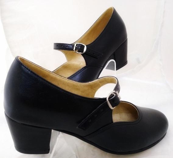 Zapato Folklórico Para Bailable Sintético Negro Tacón # 5