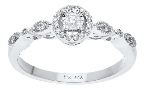 Anillo Bizzarro De Oro Blanco 14k Con 15 Pts De Diamante (h-