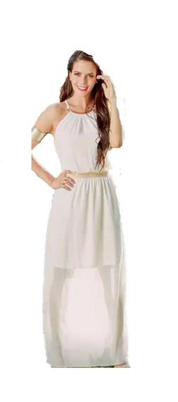 7237eac1e016 Vestido Dorado Y Blanco Otros Largos Mujer - Vestidos de Mujer De ...