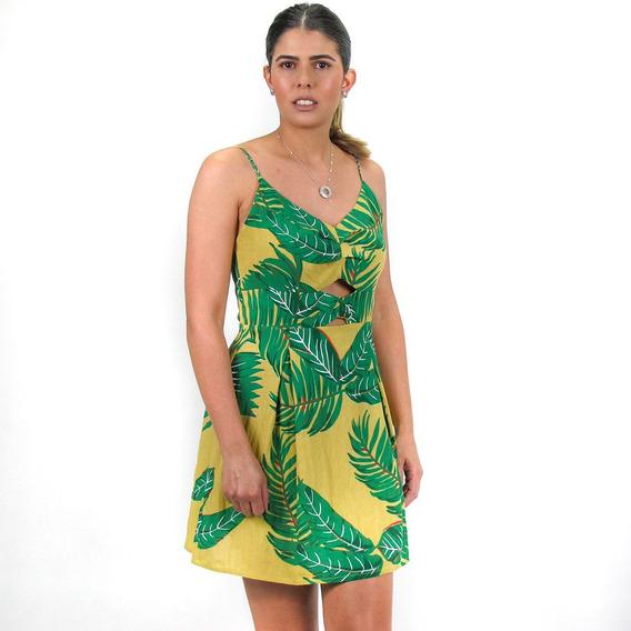 Vestido Estampado Folhagem Mostarda