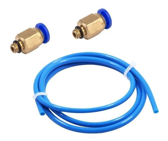 1 Mt Tubo Teflon 2x4mm Azul 1,75mm Para 3d + 2 Conector