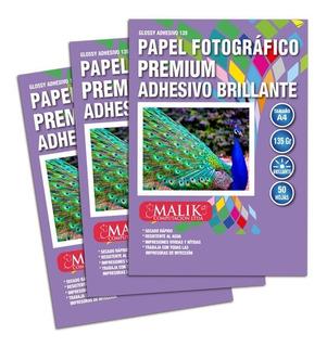 Pack 3 Papel Fotografico Adhesivo Brillante 135gr 50hojas A4