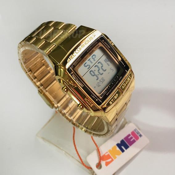 Relógio Digital Masculino Dourado Skmei 1381 Caixa Nf