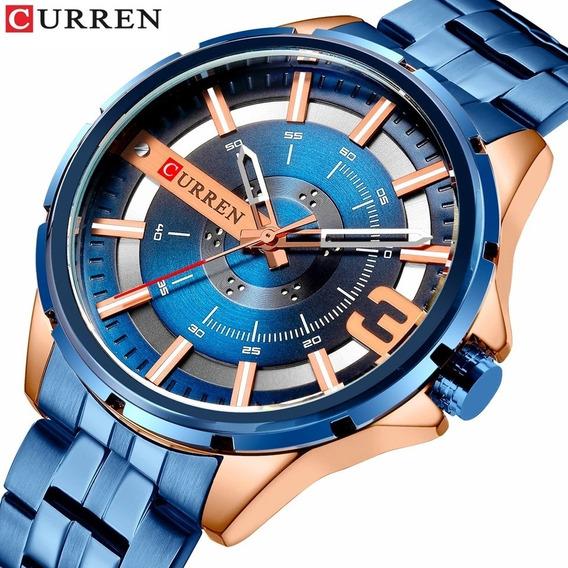 Relógio Curren 8333 Original Marca De Luxo Estiloso Aço Inox