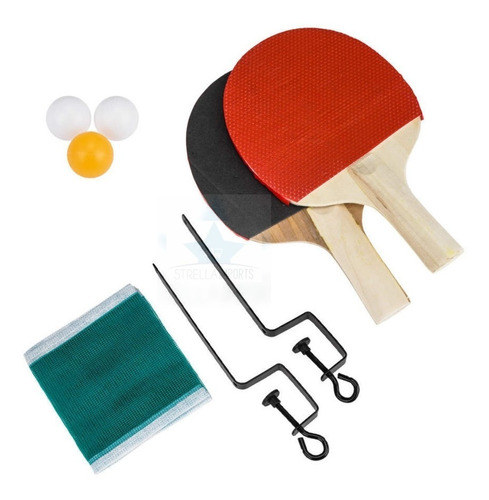 Kit Ping Pong 2 Raquetes 3 Bolas  + Rede + Suporte