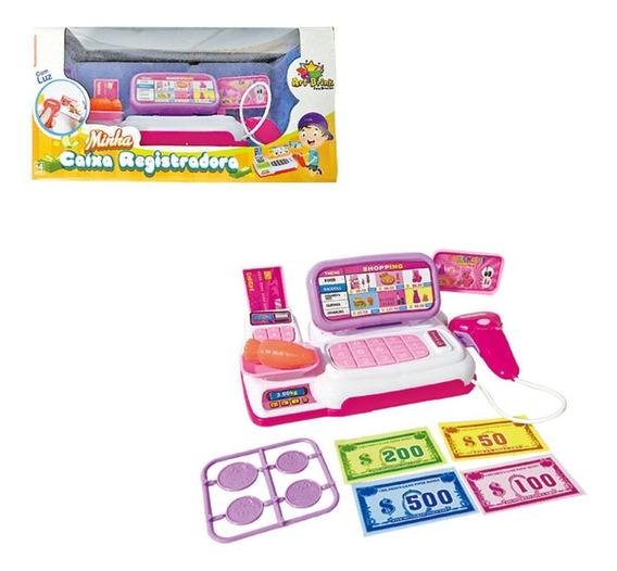 Caixa Registradora Infantil Com Som E Luz Brinquedo Rosa.