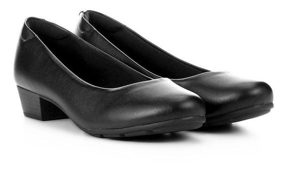 Sapato Scarpin Modare 7032.500 Salto Baixo Grosso Napa Preto