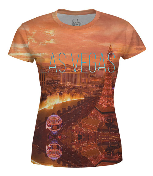 Camiseta Baby Look Feminina Las Vegas Estampa Total