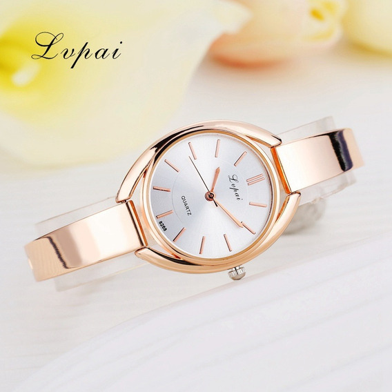 Relógio Feminino Promoção Bonito Rose Gold Luxo Barato Top