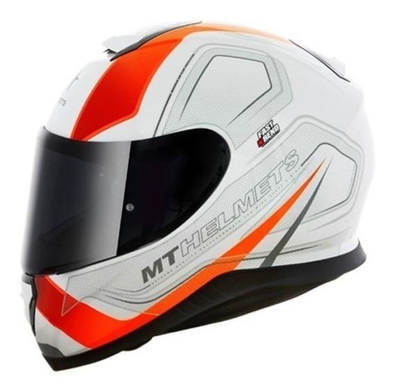 Capacete Mt Thunder 3 Trace White/orange Com Viseira Cristal