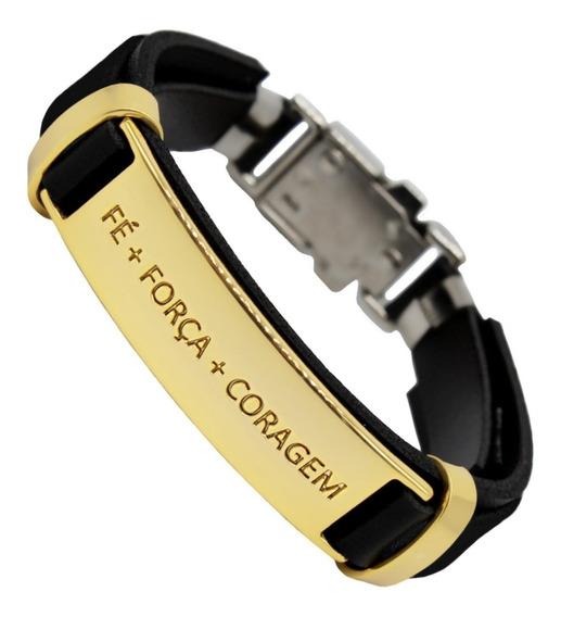 Pulseira Executiva Masculina Dourada Couro Luxo Ouro 18k
