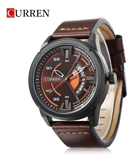 Relógio Masculino Curren 8298 Original Couro E Calendário
