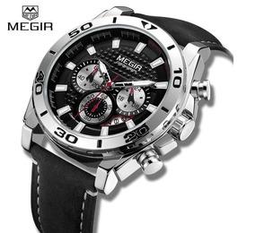 Relógio Masculino Megir 2094g Luxo Inoxidável Couro Original