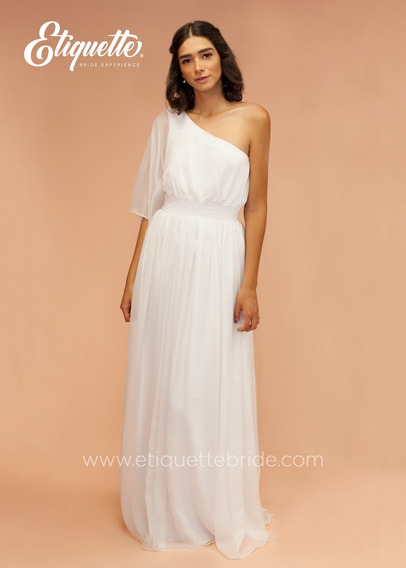 Vestido De Boda Civil Bonito Economico Blanco
