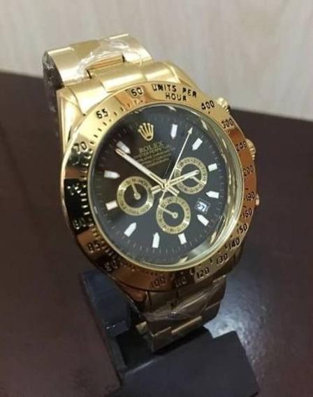 Relogio Dourado Fundo Preto Rolex 40mm Daytona