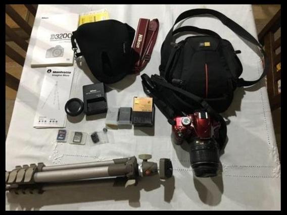 Nikon D3200, Lente 1855, Tripé, 2 Baterias, 2 Cartões 64gb