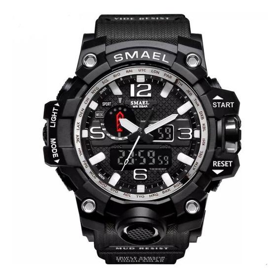 Relógio Masculino Smael 1545 Militar Esportivo Preto E Prata