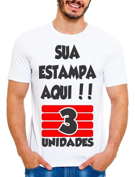 Kit 3 Camisetas Personalizada Com Sua Estampa Foto Imagem Wa