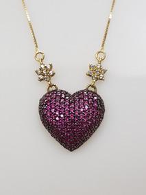 Colar Gargantilha Ouro 18k 50 Cm Com Pingente De Coração