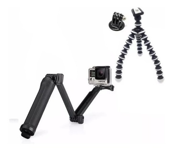 Bastão 3 Way Tripé Flexível Adaptador Kit Hero Gopro 2018