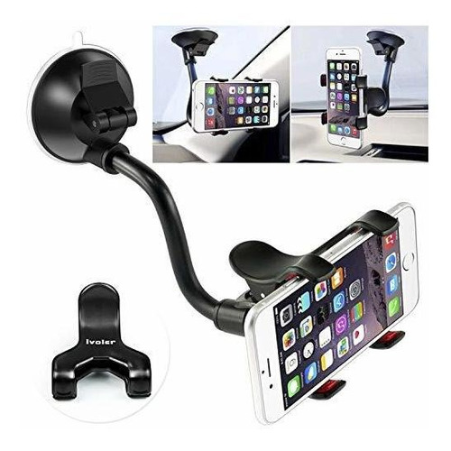 Car Phone Mount Windshield, Long Arm Clamp Ivoler Universal