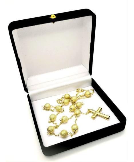 Colar Terço Contas Diamantadas 60cm Banhado De Ouro 18k 1231