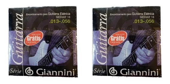 Kit 2 Encordoamento Para Guitarra 013 056 Giannini Geegst13