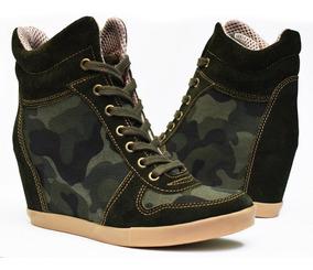 Zapatillas Taco Escondid Sneaker Ciro Art680 Cuero Y Militar