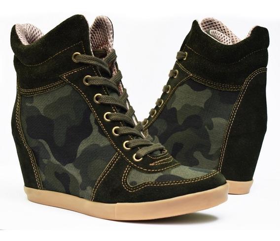 Zapatillas Taco Escondido Mujer - Cuero Vacuno Gamuza Y Lona Militar - Cordones - Calzado Ciro